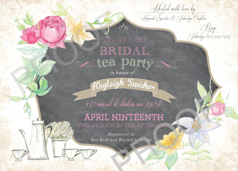 Vintage Tea Party Wedding Invitations: TEA PARTY INVITE Bridal Shower Baby Shower Vintage Garden