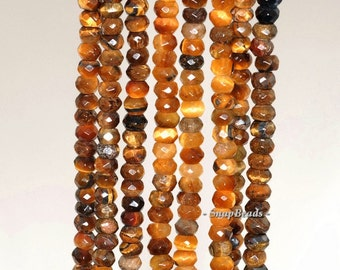 4x3mm Cognac Tiger Eyes Gemstone Faceted Rondelle 4x3mm Loose Beads 7.5 inch Half Strand (90142368-342)
