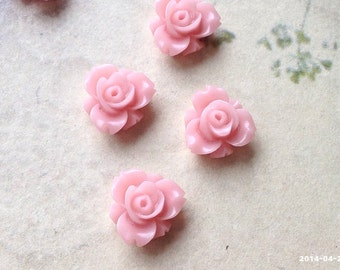 12 mm Coral Pink Color Resin Rose Flower Cabochons (.sm)