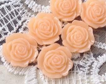 16 mm Flat Back Peach Color Rose Resin Flower Cabochons (.am)(ZZB)