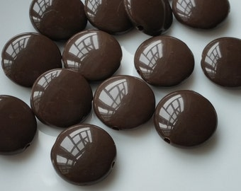 14 mm Round Shape Acrylic Chocolate / Black Color Beads  (.mc)