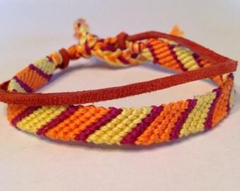 Orange, Yellow & Burgundy Stripes - with Rust Suede - Friendship Bracelet