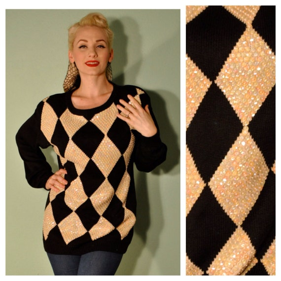 Vintage 1980s Sequin Sweater Oversized with Harlequin Print Argyle Diamond Print Pullover Cardigan