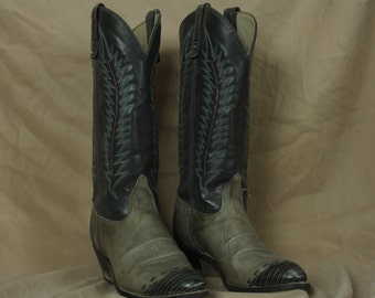 Womens Cowboy Boots, Shoes, Texas, Blue and Gray, 8M