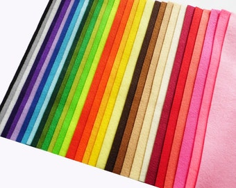 Felt sheets, 34 colors, size 20x20cm, felt pack, felt suplies, felt craft
