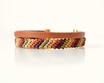 Fall Autumn Jewelry Macrame Bracelet, Leather Bracelet, Friendship Bracelet, Boho Bracelet, Cuff bracelet, Ethnic Bracelet, Southwestern