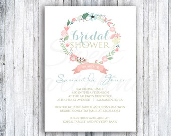 Bridal Shower Invitations - 20 5x7 - Wreath of Love