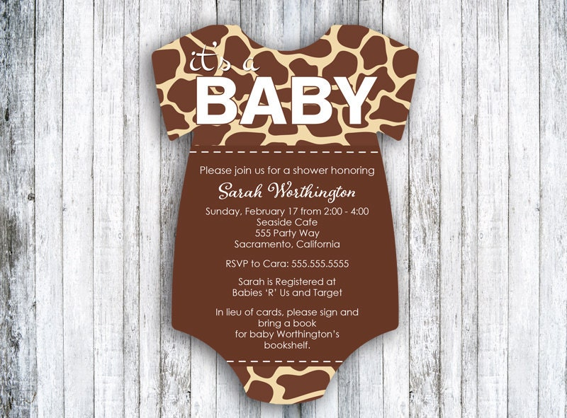 giraffe gender neutral baby shower invitation boy baby
