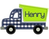 Dump Truck 2 Applique Design - Bean & Satin - 3 Sizes - INSTANT DOWNLOAD