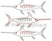 Triple Swordfish Applique Design - Machine Embroidery Design - 3 Sizes - INSTANT DOWNLOAD
