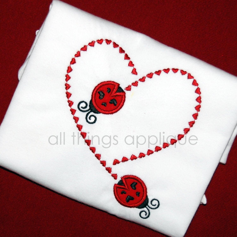 Ladybug stitching heart valentine applique design