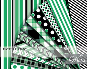 Digital Paper supplies in green and black printable plaid, chevron, stripe, polka dot for scrapbooking invitations : p0212 3s204950C