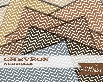 Brown digital paper chevron woodland scrapbooking woodsy paper in brown gold kraft gray : B0196 v301 neutral