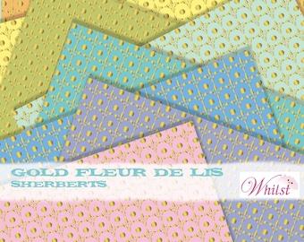 Digital paper fleur de lis digital paper gold metallic digital paper : L0722 v301 3sSherbert
