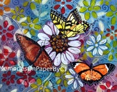 Butterfly Painting - One of a kind - Original - Mixed Media Painting called Butterflies in orange, yellow, blue, white & black