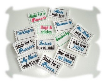Handmade supply, made to order, embroidered sewing and craft labels