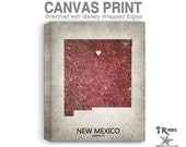 New Mexico Map Stretched Canvas Print - Home Is Where The Heart Is Love Map - Original Personalized Map Print on Canvas