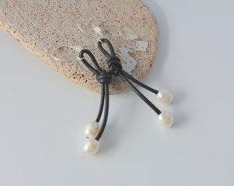 Leather and Pearl Earrings, Knotted Black Leather with White Freshwater Pearls, French Earhook, Dangle Earrings, Clip On Available, Gift Box