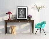 chalkboard print art chalk board typography motivational quote black white 8x10 home decor