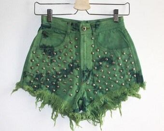 Denim Cutoff Shorts - Mottle Bleached & Dyed Green Studded and Frayed