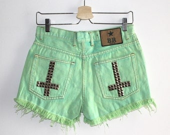 Denim Cutoff Shorts - Lime Green Cross Studded Slashed and Frayed Denim Green Shorts