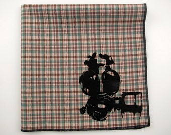 Hankie- GAS MASK shown on super soft tan/green plaid Hanky-or choose from white or any solid colors or plaids shown in pics