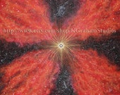 Gallery Wrapped Canvas Print STAR BURST 16x20 Spacescape, Fine Art or Photographic Print Space Art Red & Orange Nebula Exploding Star