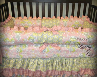 Pink and Gray Crib bedding set
