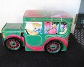 Teddy Bear Christmas Truck Tin with turning wheels
