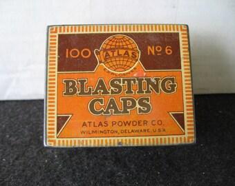 Vintage Du Pont Blasting Cap No. 6 Advertising Tin