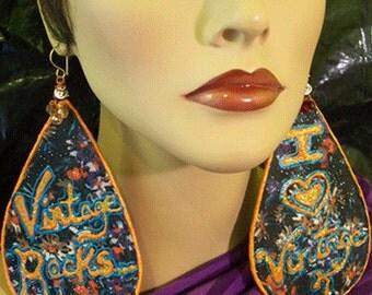 Teardrop Dangle Earrings - Handpainted Design