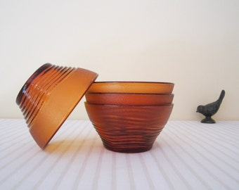 RETRO French DURALEX serving bowls - set of 4, amber glass