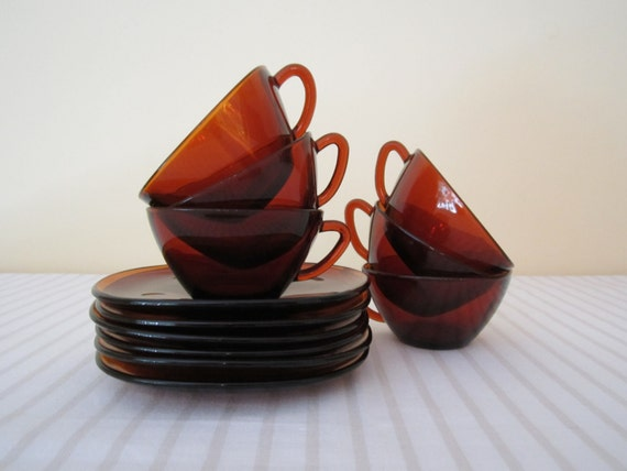 RETRO Mid Century French VERECO amber glass, cup and saucer - set of 6