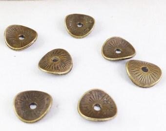 100pcs Antique Bronze Mini Round Curved Potato Chip Spacer Bead Charm Pendants 9mm E109-6