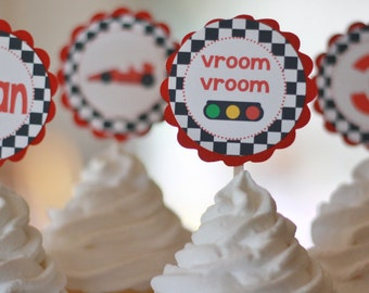 12 Red Black Checkered Flag Race Car Theme Birthday Cupcake Toppers or 2 Cake Toppers - Ask About our Party Pack Sale - Free Ship Over 65.00