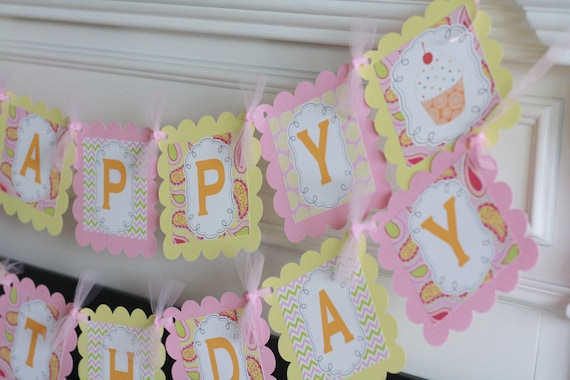 Happy Birthday Whimsical Paisley Chevron Cupcake Theme Banner - Cupcake Toppers, Favor Tags, Place Cards & Door Sign Available