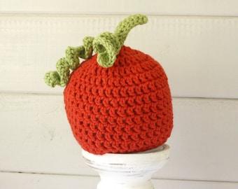 Pumpkin Beanie, Fall Crochet Beanie Hat, Newborn to 2T-4T, Great Photoprop, MADE to ORDER