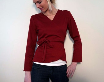 Wrap Top Burgundy Red Jersey - with Long Sleeves