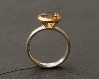 Citrine Gold Ring - Yellow Gem Ring - Citrine Ring set in 18K Yellow Gold Bezel with Sterling Silver Band - Made to order- Free Shipping