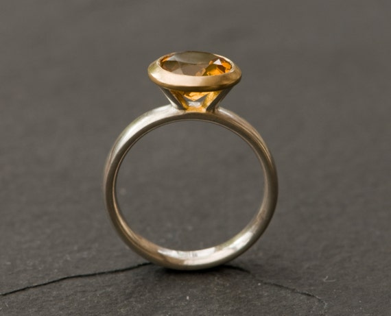 Citrine Gold Ring Yellow Gem Ring Citrine Ring set in 18K
