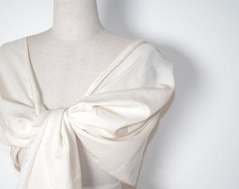 Ivory scarf bridal shawl, pure silk off white stole wrap for weddings, bridesmaids gifts, mother of the bride. Peace silk