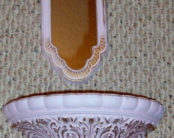 40% Off, Vintage, Syroco Wall Mirror, Wall Planter,  Pink, Shabby Chic, Nursery, bath decor,