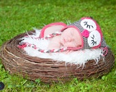 Crocheted baby chevron Owl Beanie and Diaper Cover Photo prop