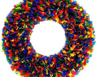 Rainbow Wreath - Pride Wreath - Indoor Outdoor Wreath - Spring Wreath - Outdoor Wreath - Party Decor - Door Wreath - Summer Wreath