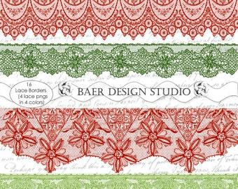 Lace Trim Clipart, Clip art commercial use, clip art borders, clip art vintage, Red Lace Trim Clip Art, PNG Lace, Green Lace Trim,#82016