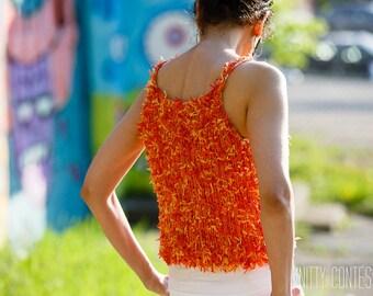 Summer Sweater Tank Handknit Lightweight Sweater Crocheted Tank