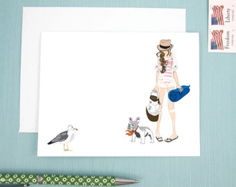 Greeting Card, note card, beach theme with girl and her french bulldog looking at a seagull, fashion illustration greetings