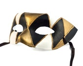 MASK - Masquerade mask, Mardi Gras,Venetian Masks Black Male Mens Venetian Ball Mask: Harlequim Venetian Mask black white and gold for men