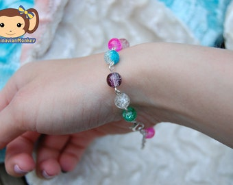 Crystal drops Bracelet - multicolored, crackle beads