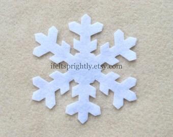20 Piece Large Die Cut Felt Snowflakes, Style #3, White